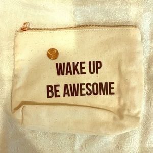 Sweaty Betty 'Wake up be awesome'cotton pouch NWOT